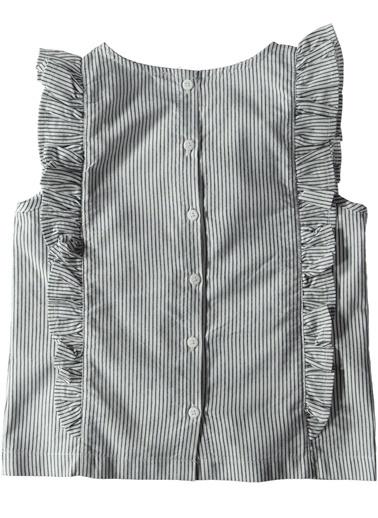 Çizgili Fırfırlı Bluz-Asymmetry